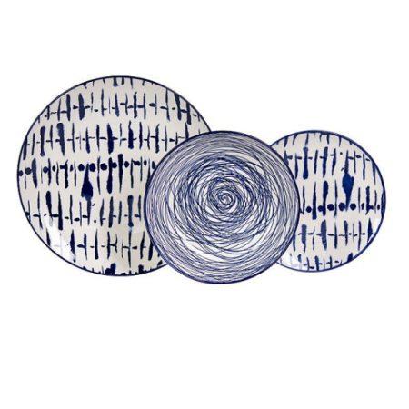 PERSEIDI porcelán étkészlet 18 db-os KÉK-FEHÉR